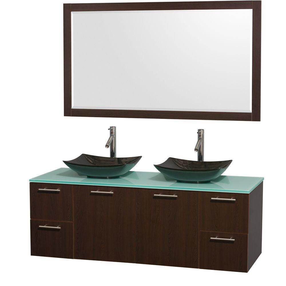 Amare 60-inch W Double Vanity in Espresso with Glass Top with Black Basins and Mirror