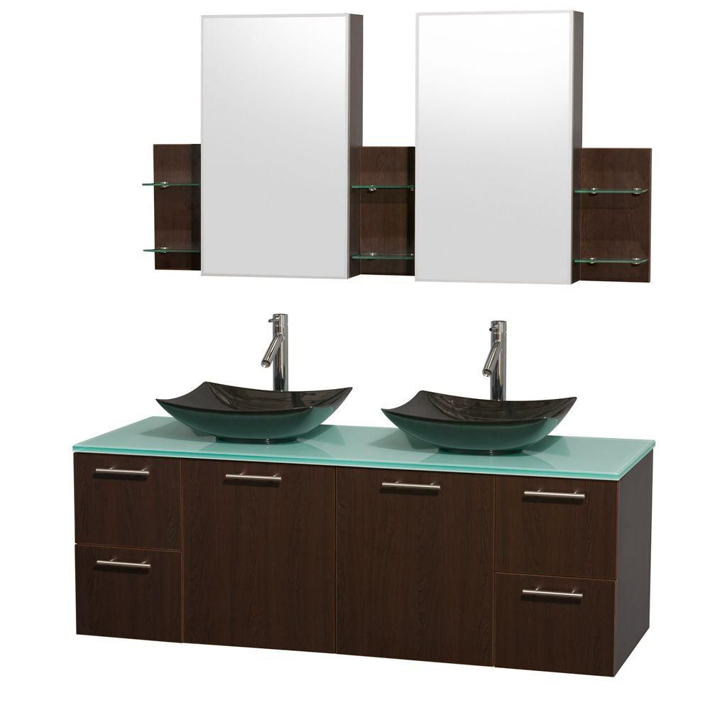 Amare 60-inch W Double Vanity in Espresso with Glass Top with Black Basins and Medicine Cabinet