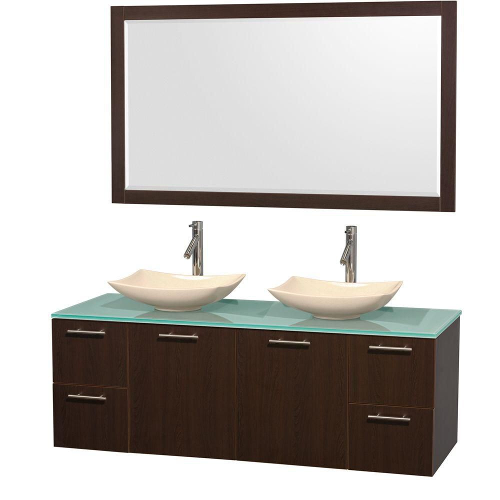 Amare 60-inch W Double Vanity in Espresso with Glass Top with Ivory Basins and Mirror