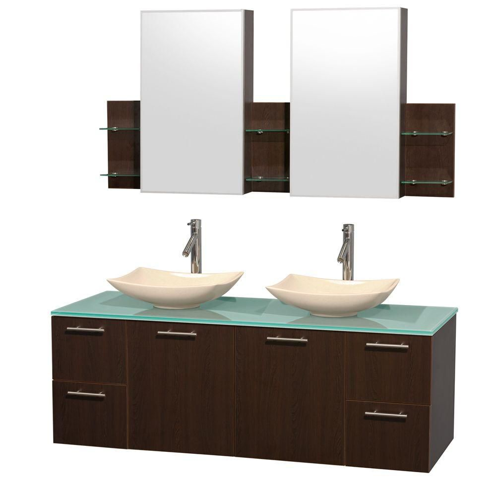 Amare 60-inch W Double Vanity in Espresso with Glass Top with Ivory Basins and Medicine Cabinet