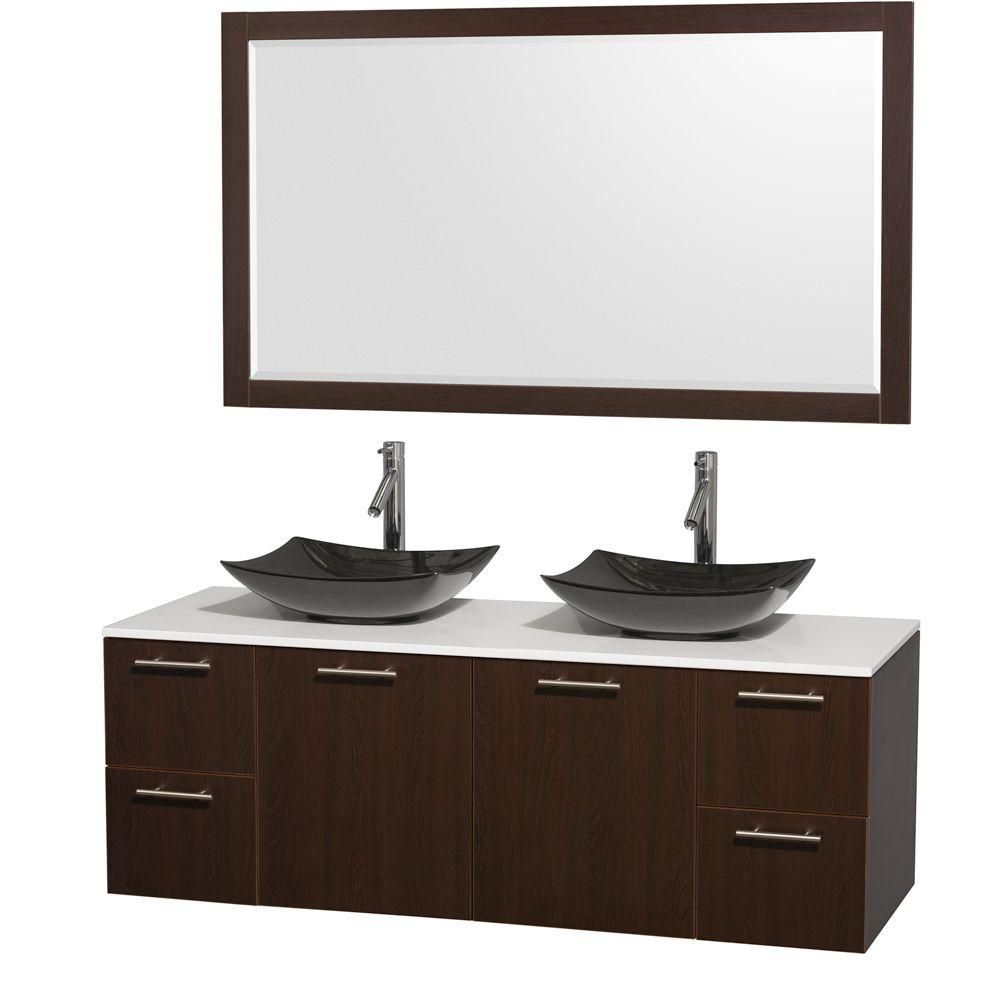 Amare 60-inch W Double Vanity in Espresso with Solid Top with Black Basins and Mirror