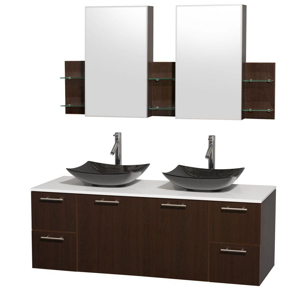 Amare 60-inch W Double Vanity in Espresso with Solid Top with Black Basins and Medicine Cabinet
