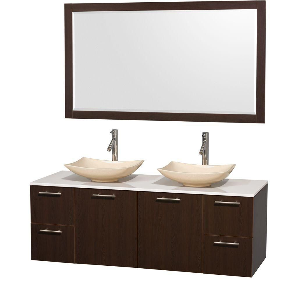 Amare 60-inch W Double Vanity in Espresso with Solid Top with Ivory Basins and Mirror
