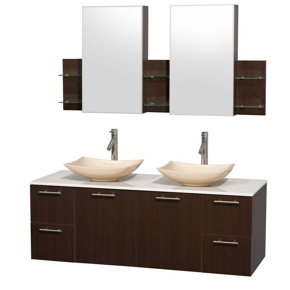 Amare 60-inch W Double Vanity in Espresso with Solid Top with Ivory Basins and Medicine Cabinet