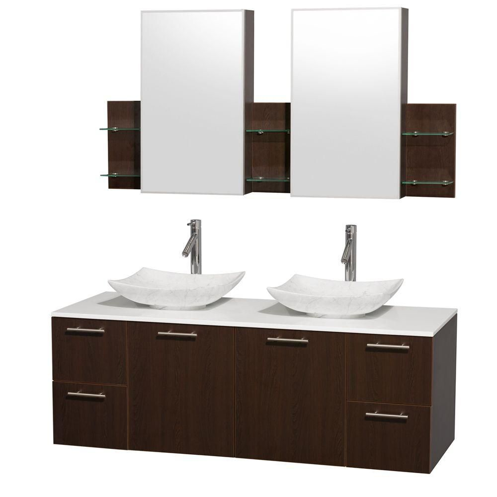 Amare 60-inch W Double Vanity in Espresso with Solid Top with White Basins and Medicine Cabinet