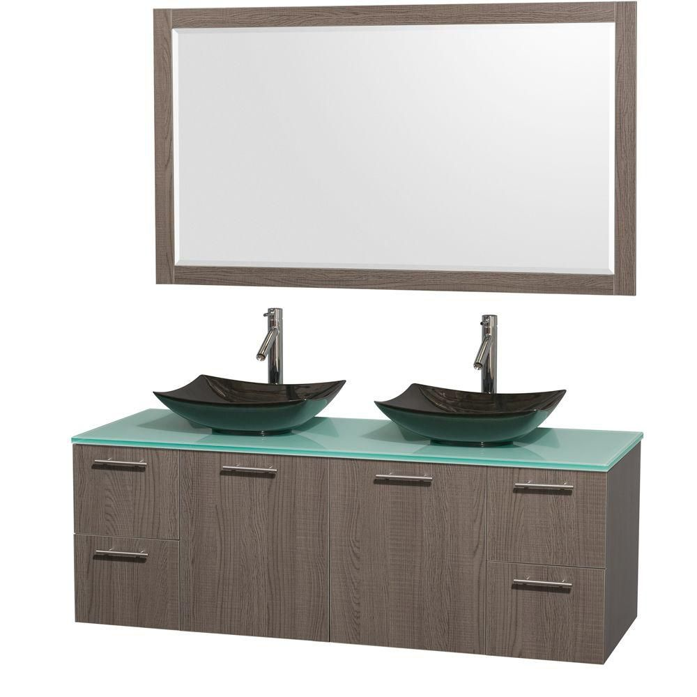 Amare 60-inch W Double Vanity in Grey Oak with Glass Top with Black Basins and Mirror