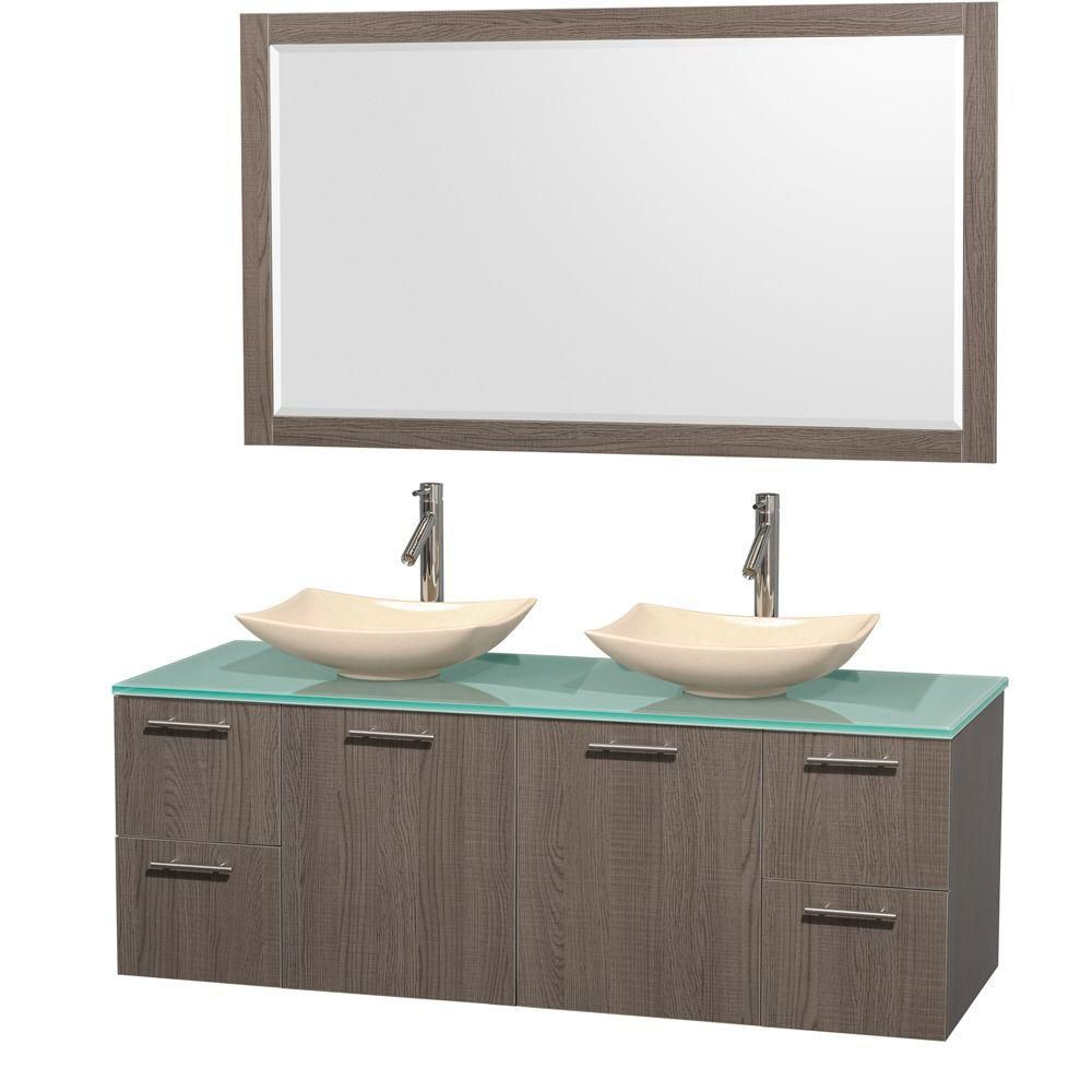 Amare 60-inch W Double Vanity in Grey Oak with Glass Top with Ivory Basins and Mirror