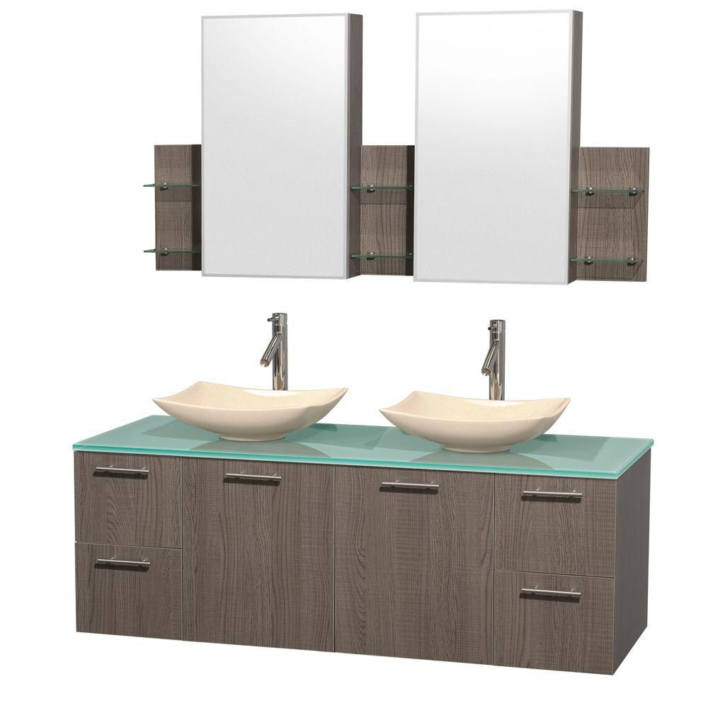 Amare 60-inch W Double Vanity in Grey Oak with Glass Top with Ivory Basins and Medicine Cabinet