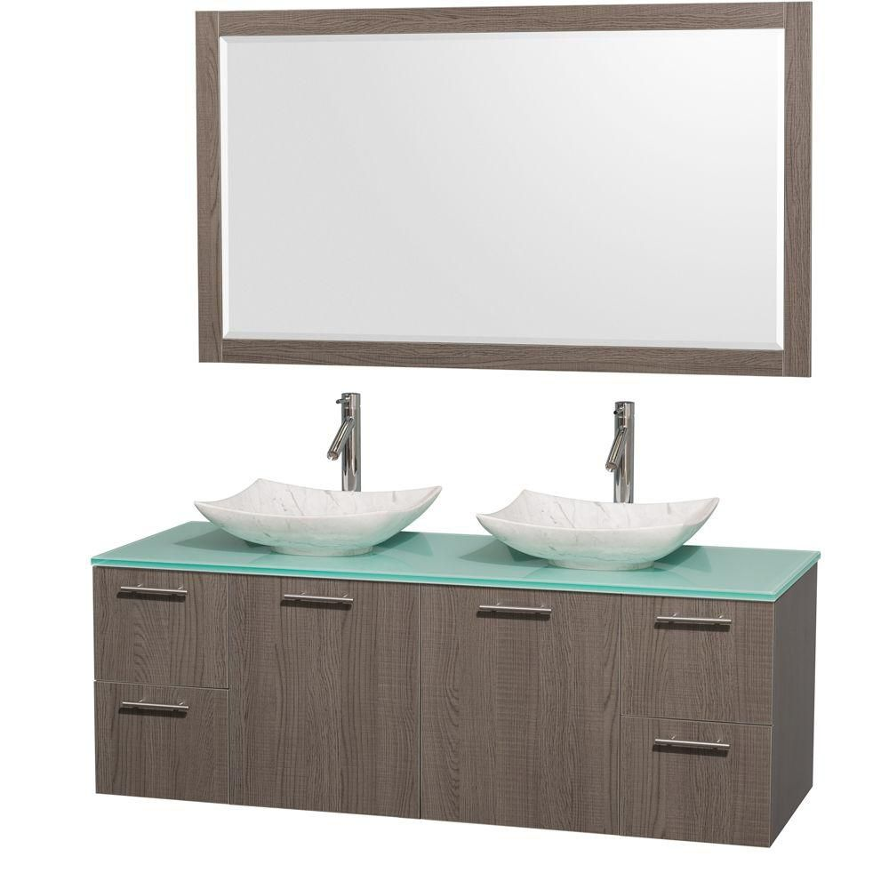 Amare 60-inch W Double Vanity in Grey Oak with Glass Top with White Basins and Mirror