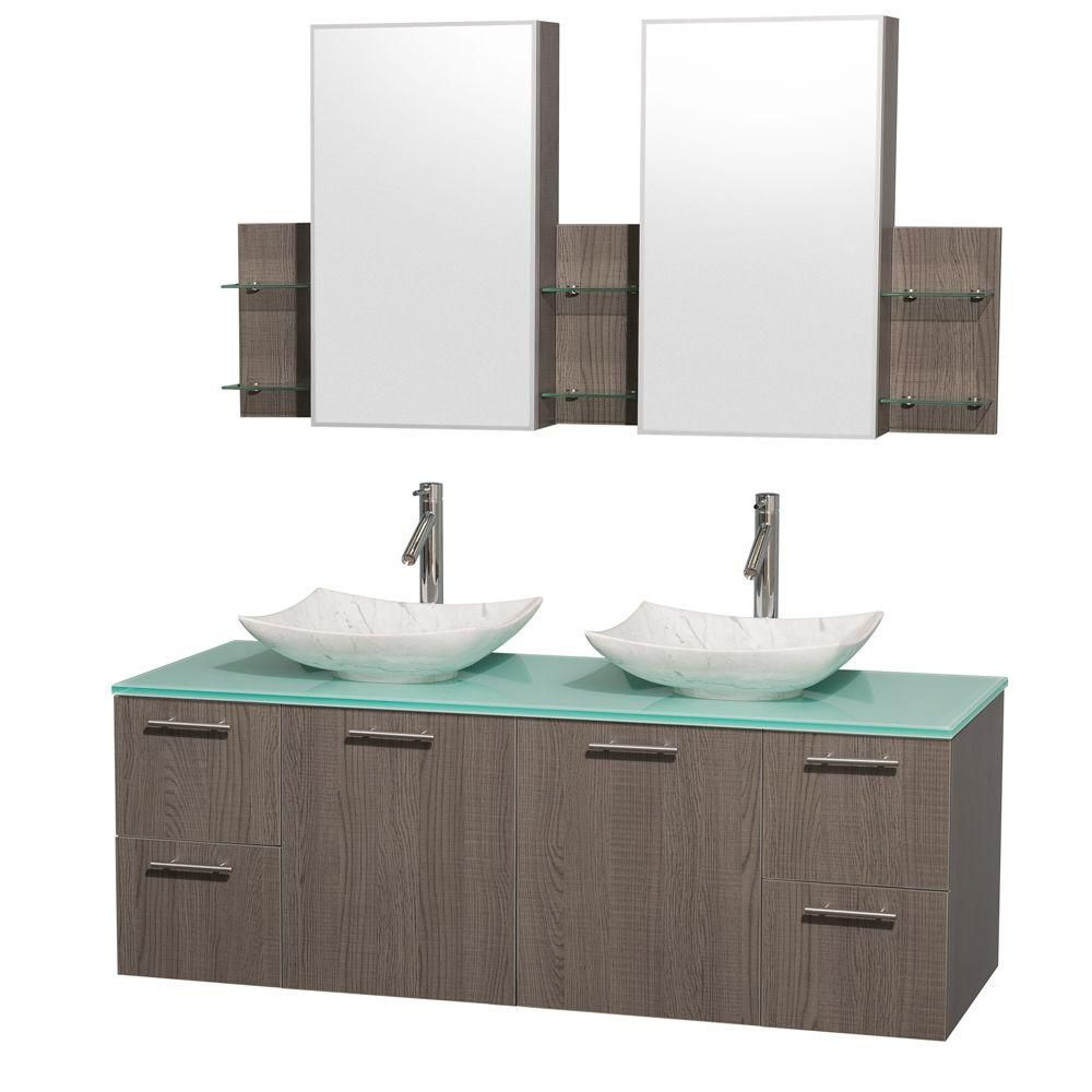 Amare 60-inch W Double Vanity in Grey Oak with Glass Top with White Basins and Medicine Cabinet