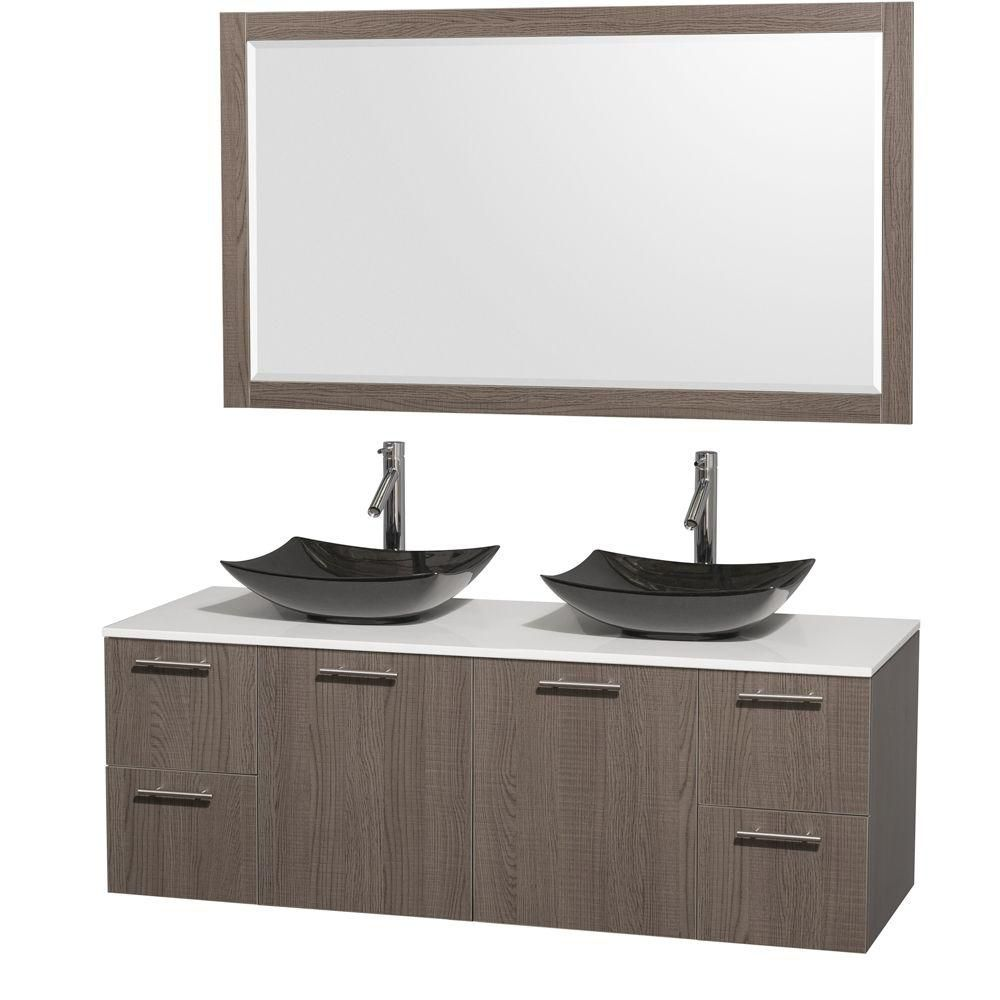 Amare 60-inch W Double Vanity in Grey Oak with Solid Top with Black Basins and Mirror