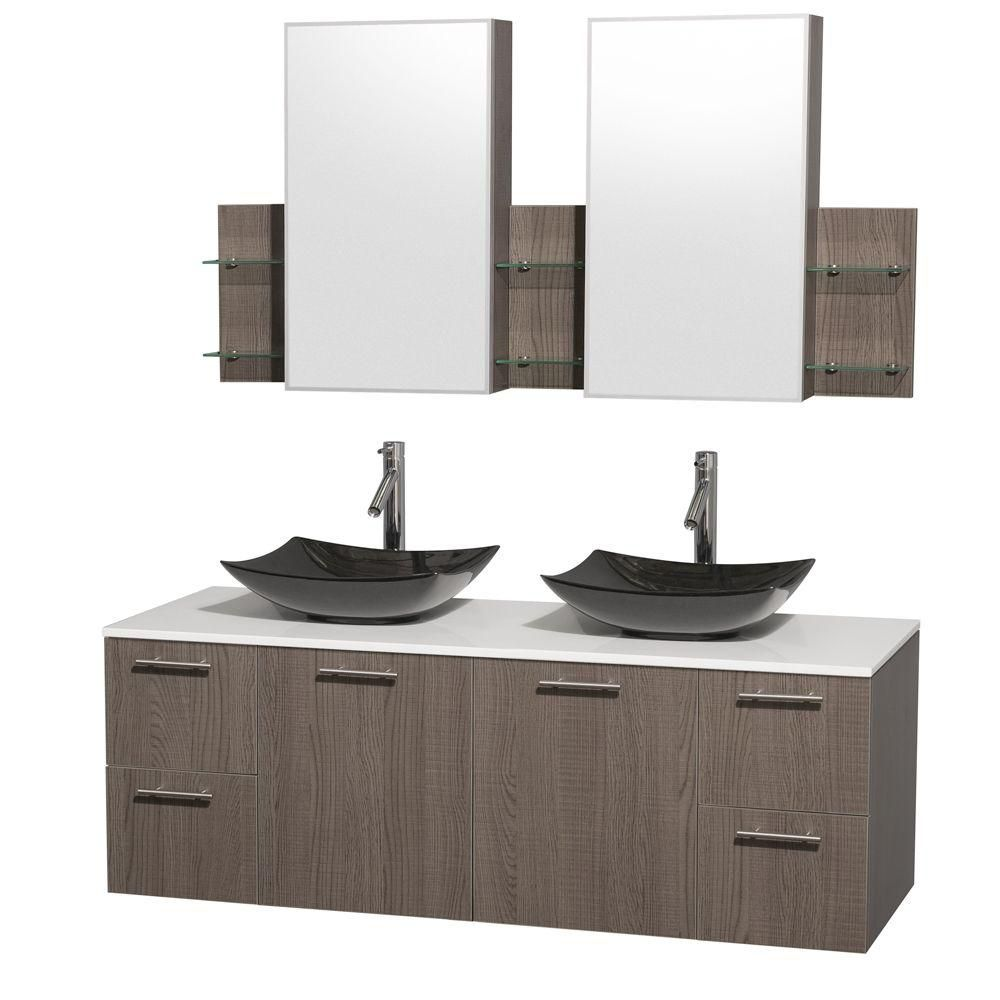 Amare 60-inch W Double Vanity in Grey Oak with Solid Top with Black Basins and Medicine Cabinet