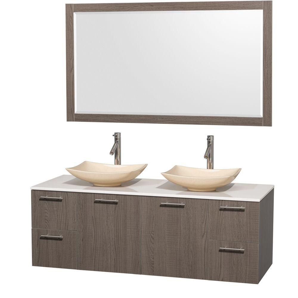 Amare 60-inch W Double Vanity in Grey Oak with Solid Top with Ivory Basins and Mirror