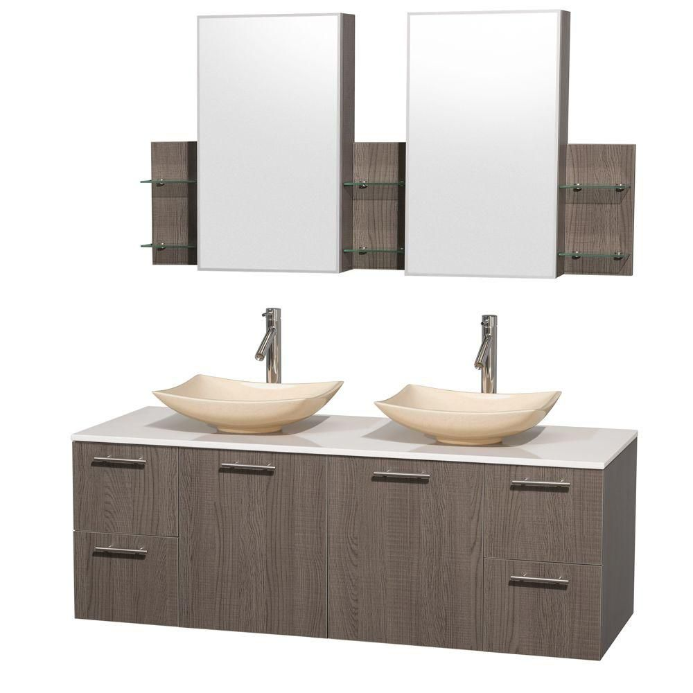 Amare 60-inch W Double Vanity in Grey Oak with Solid Top with Ivory Basins and Medicine Cabinet