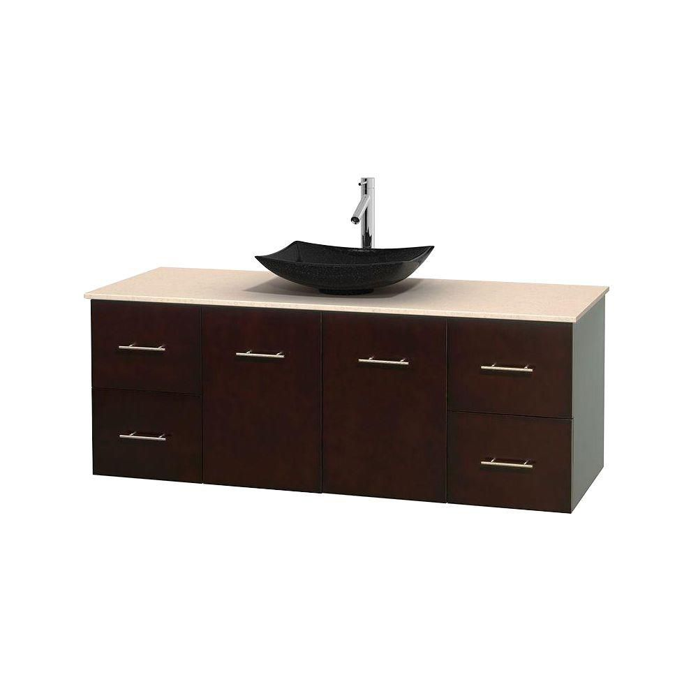 Centra 60-inch W Vanity in Espresso with Marble Top in Ivory with Black Basin