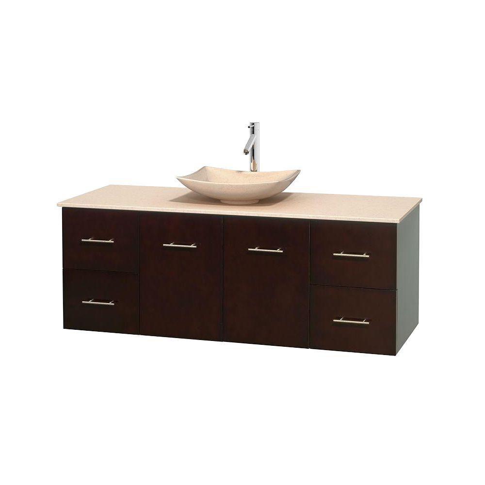 Meuble simple Centra 60 po. espresso, comptoir marbre ivoire, lavabo ivoire, sans miroir