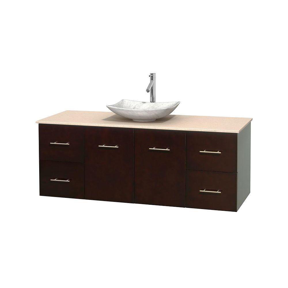 Meuble simple Centra 60 po. espresso, comptoir marbre ivoire, lavabo blanc Carrare, sans miroir