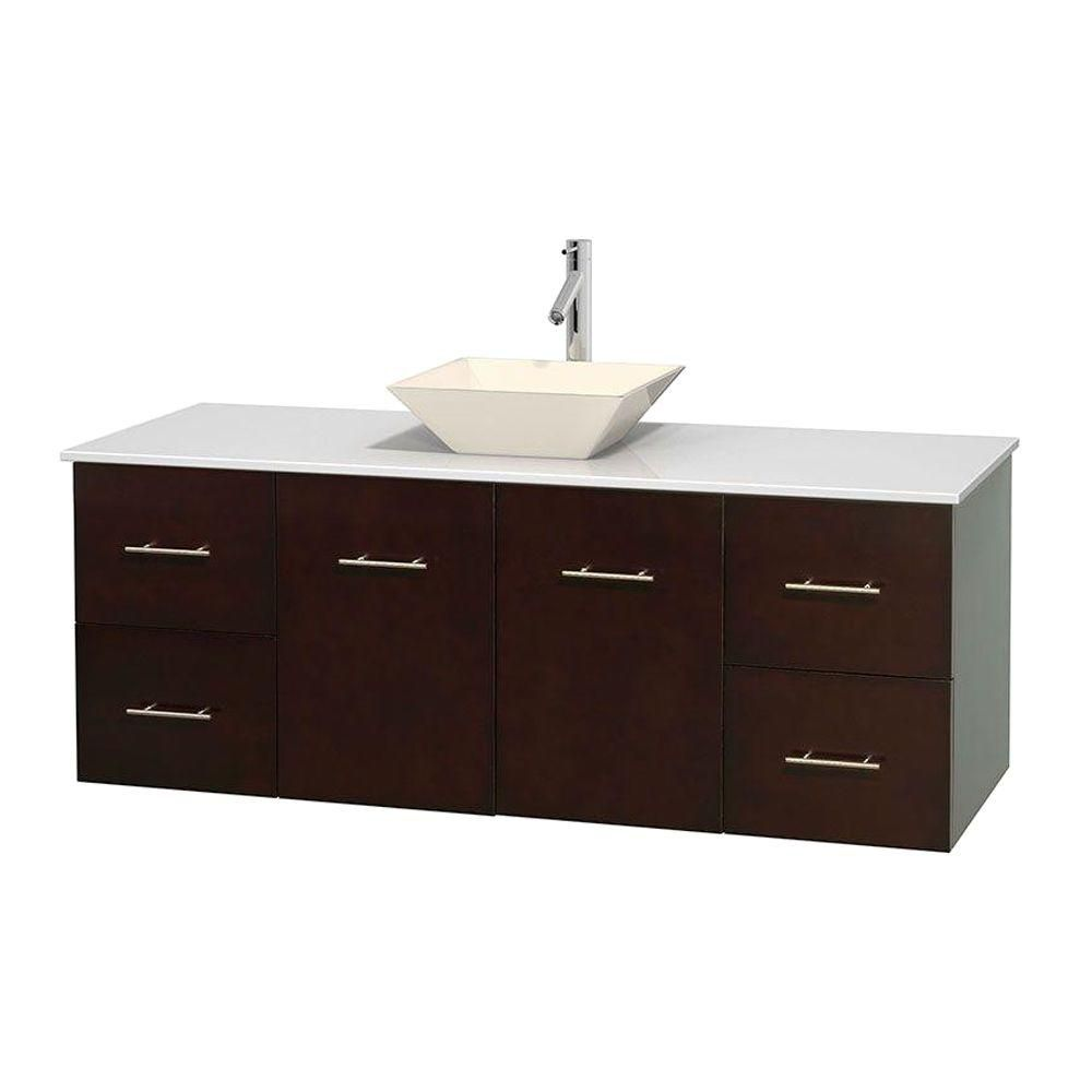 Centra 60-inch W Vanity in Espresso with Solid Top with Bone Basin