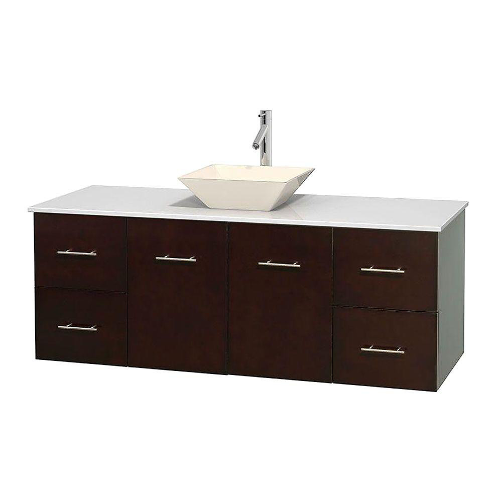 Centra 60-inch W 4-Drawer 2-Door Wall Mounted Vanity in Brown With Artificial Stone Top in White