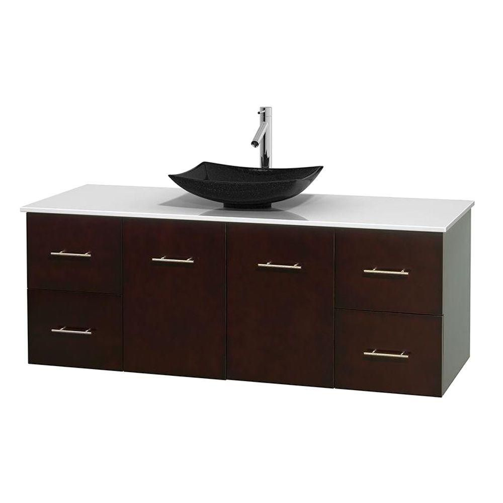 Centra 60-inch W Vanity in Espresso with Solid Top with Black Basin
