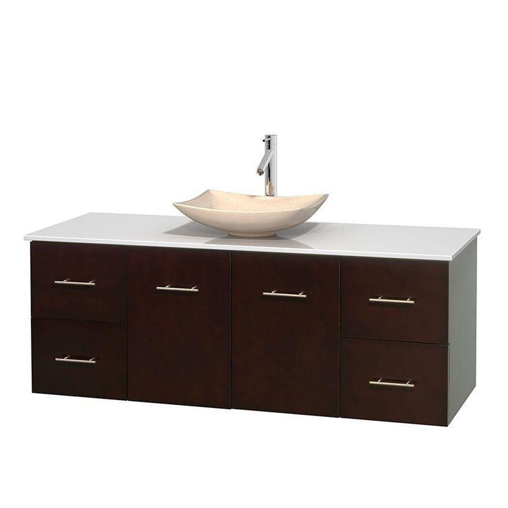 Meuble simple Centra 60 po. espresso, comptoir solide, lavabo ivoire, sans miroir