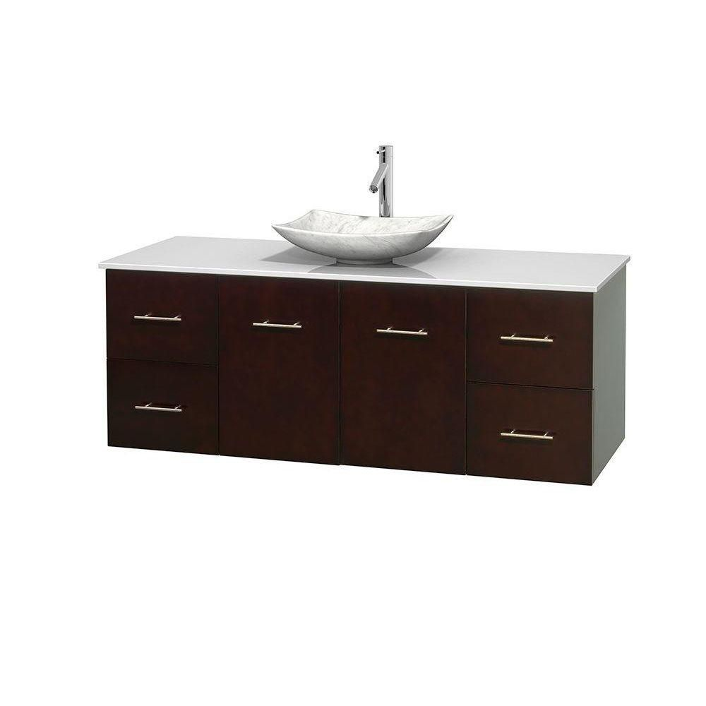 Centra 60-inch W Vanity in Espresso with Solid Top with White Basin