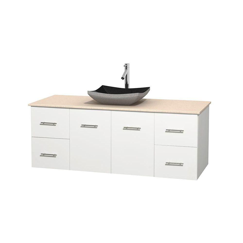 Centra 60-inch W Vanity in White with Marble Top in Ivory with Black Basin