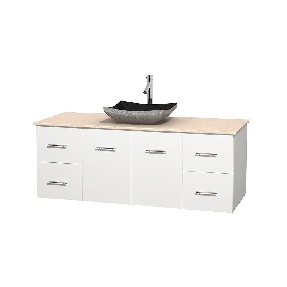 Meuble simple Centra 60 po. blanc, comptoir marbre ivoire, lavabo granit noir, sans miroir