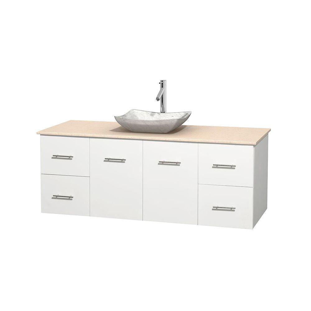 Meuble simple Centra 60 po. blanc, comptoir marbre ivoire, lavabo blanc Carrare, sans miroir