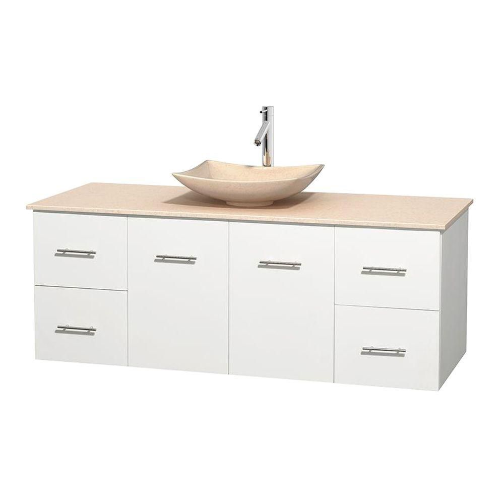 Centra 60-inch W Vanity in White with Marble Top in Ivory with Ivory Basin