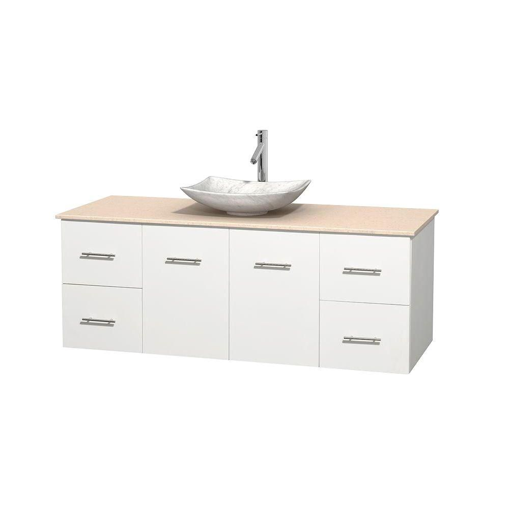 Centra 60-inch W Vanity in White with Marble Top in Ivory with White Basin