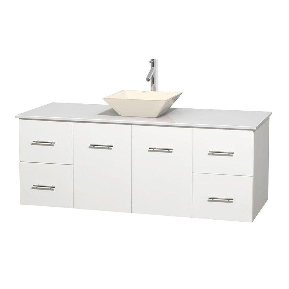 Centra 60-inch W Vanity in White with Solid Top with Bone Basin