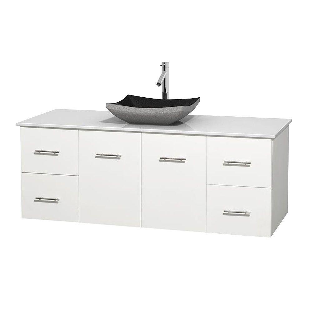 Meuble simple Centra 60 po. blanc, comptoir solide, lavabo granit noir, sans miroir