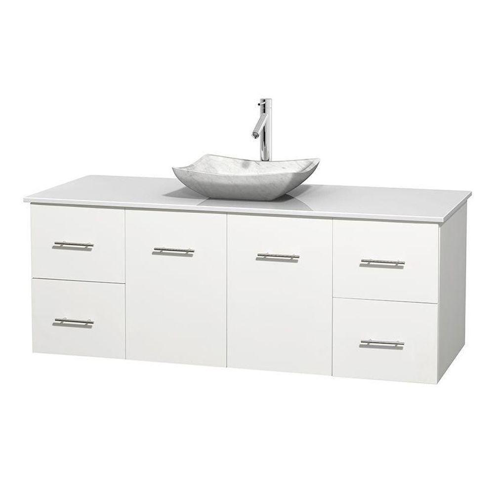 Meuble simple Centra 60 po. blanc, comptoir solide, lavabo blanc Carrare, sans miroir