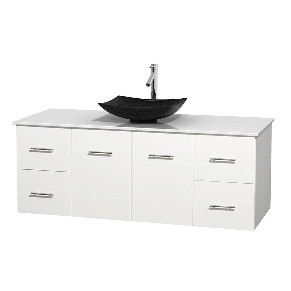 Centra 60-inch W Vanity in White with Solid Top with Black Basin