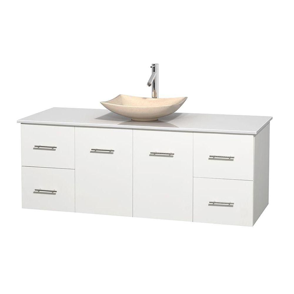 Centra 60-inch W Vanity in White with Solid Top with Ivory Basin