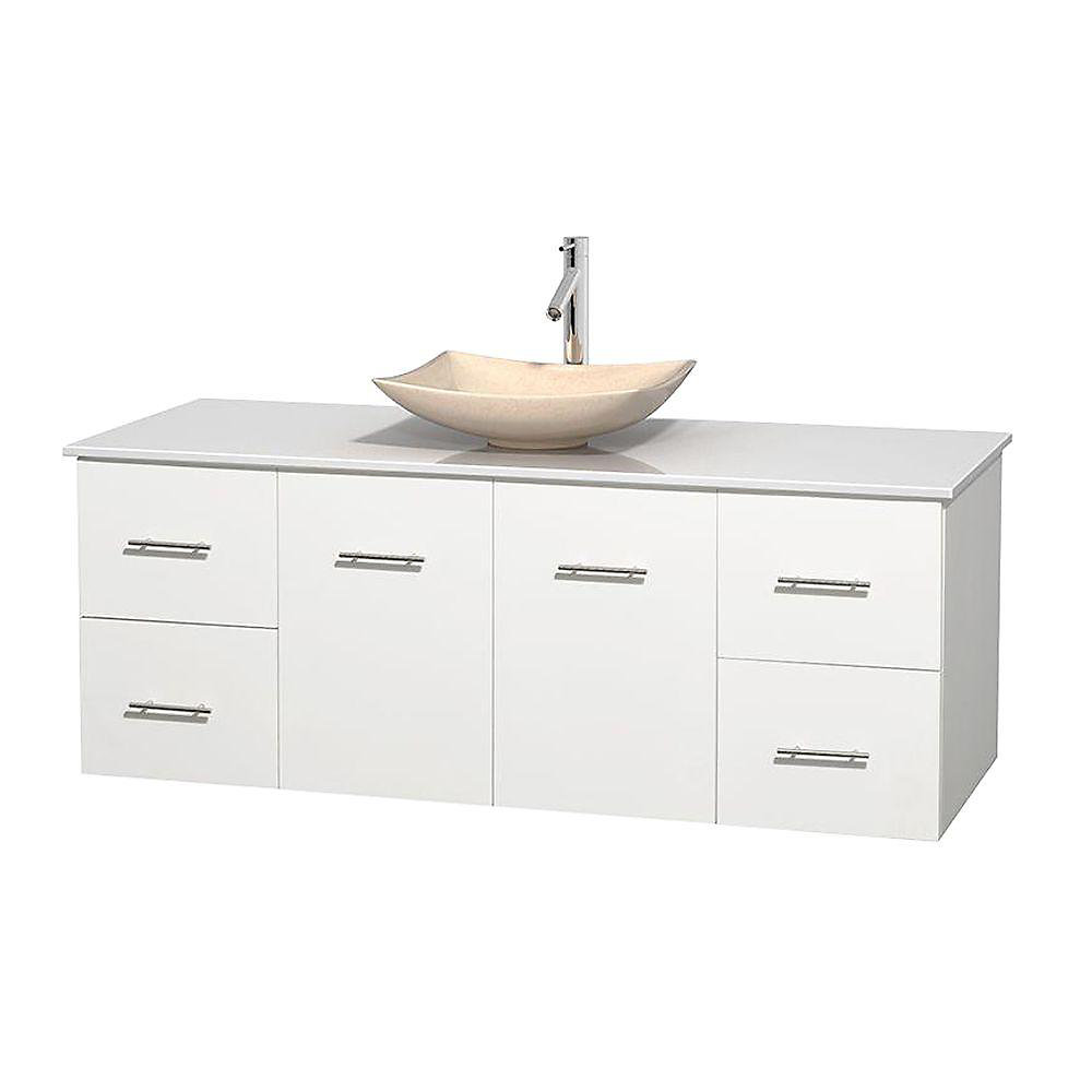 Centra 60-inch W 4-Drawer 2-Door Wall Mounted Vanity in White With Artificial Stone Top in White