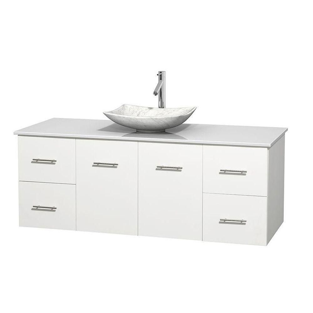 Centra 60-inch W Vanity in White with Solid Top with White Basin
