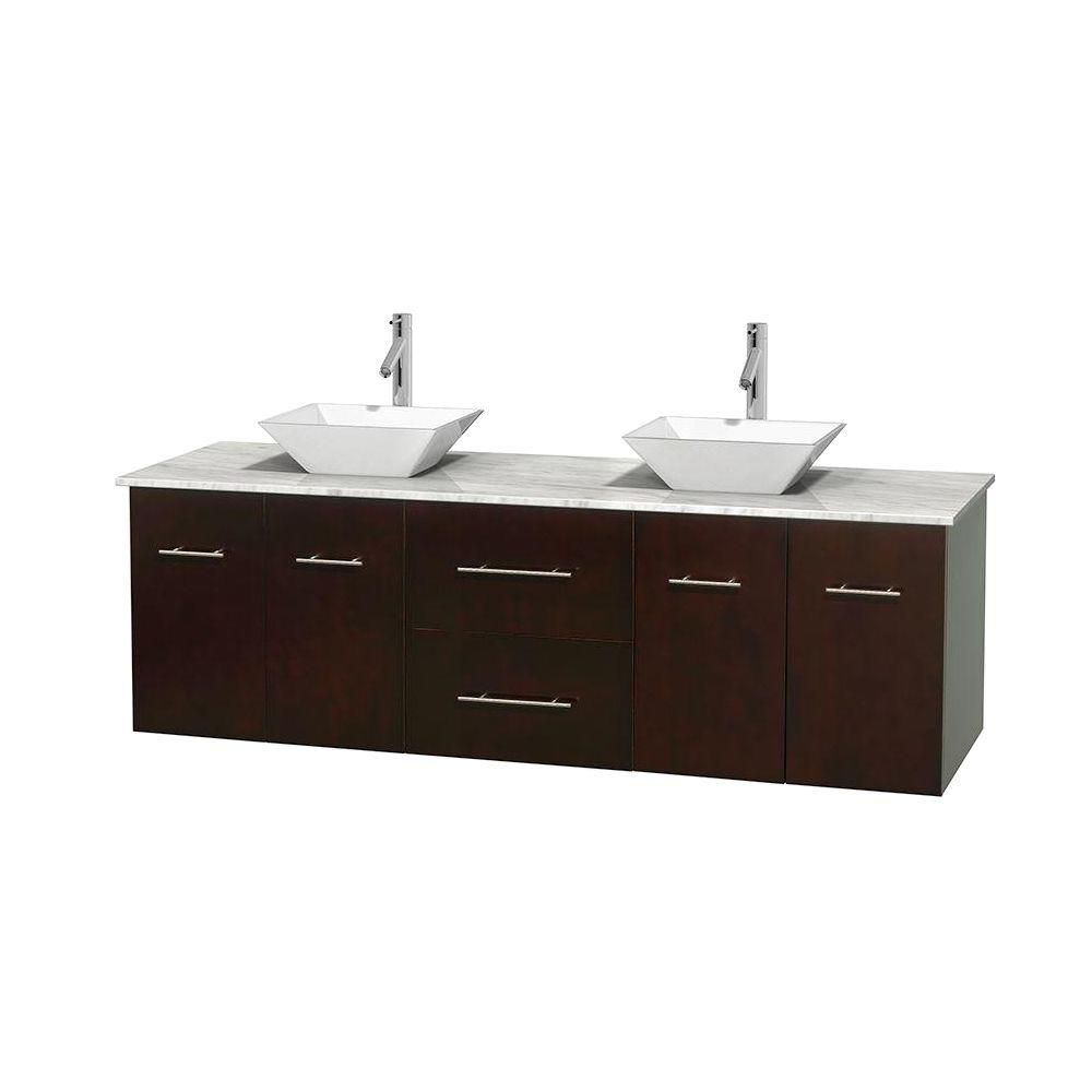 Centra 72-inch W Double Vanity in Espresso with White Top with White Basins