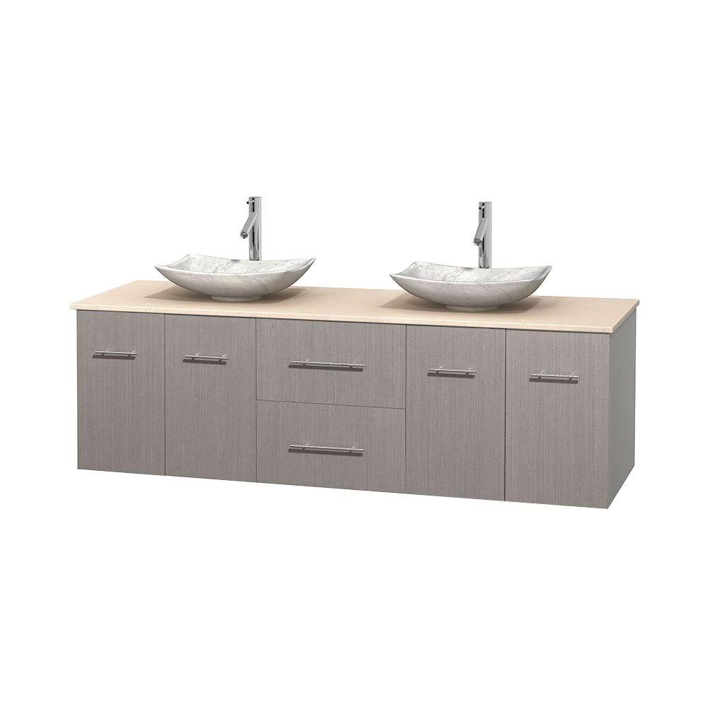 Centra 72-inch W 2-Drawer 4-Door Wall Mounted Vanity in Grey With Marble Top in Beige Tan, 2 Basins
