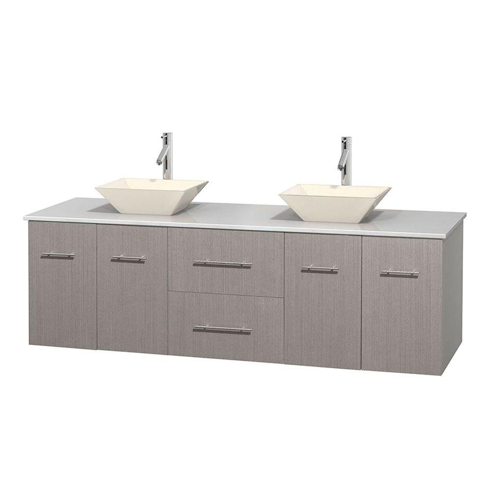 Centra 72-inch W Double Vanity in Grey Oak with Solid Top with Bone Basins