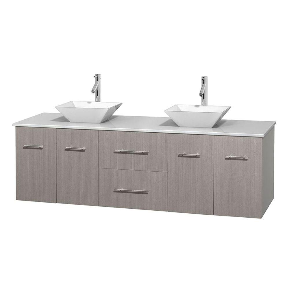 Centra 72-inch W Double Vanity in Grey Oak with Solid Top with White Basins