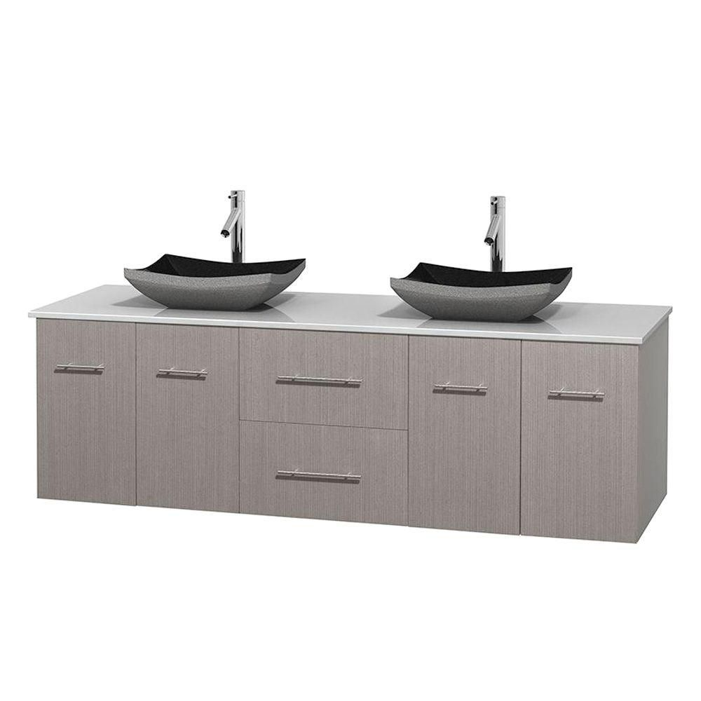 Centra 72-inch W Double Vanity in Grey Oak with Solid Top with Black Basins