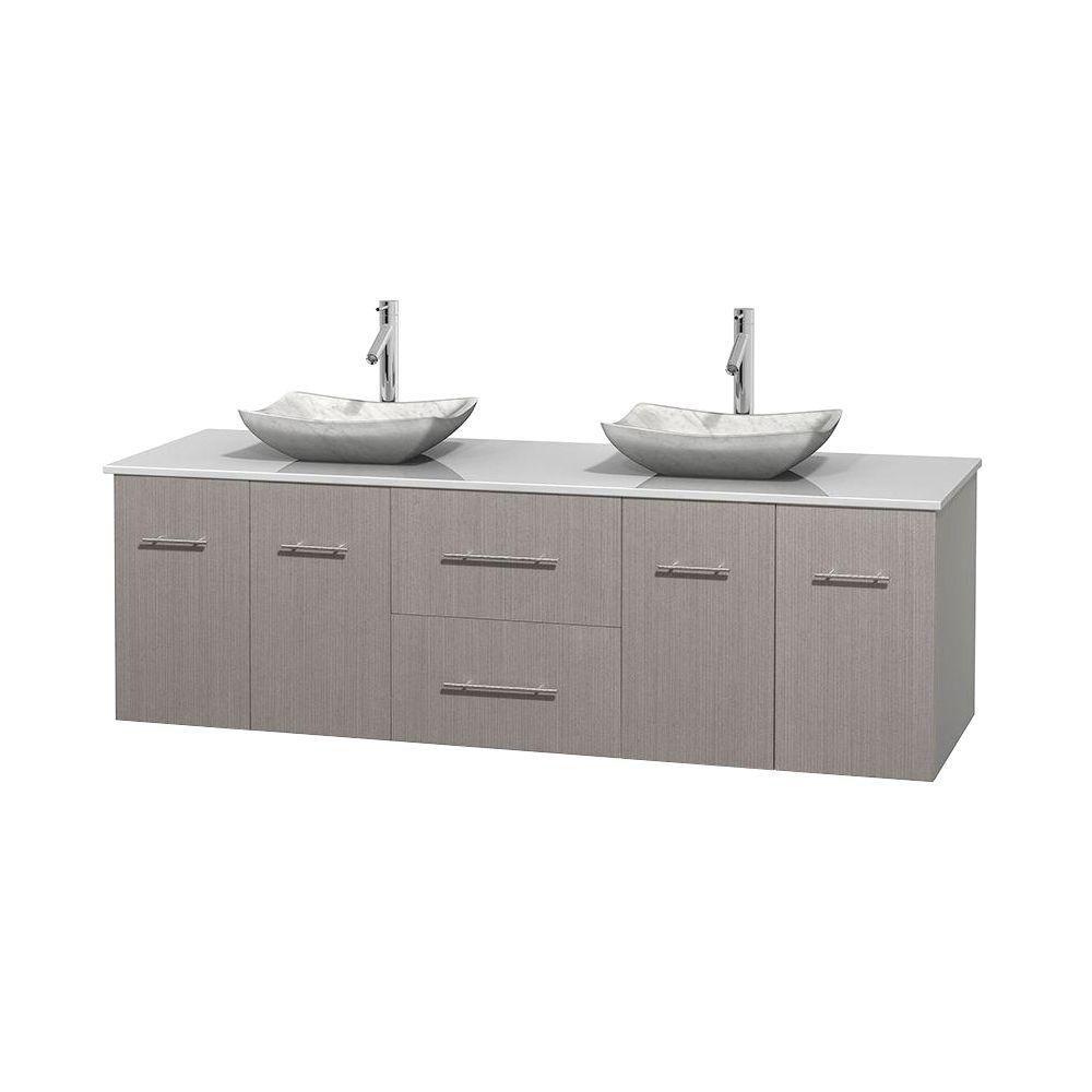 Meuble double Centra 72 po. chêne gris, comptoir solide, lavabos blanc Carrare, sans miroir