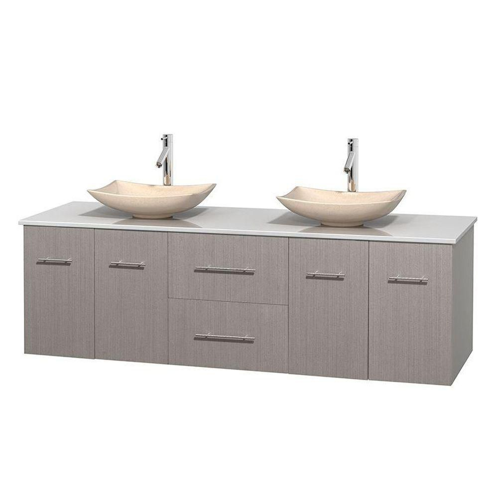 Centra 72-inch W Double Vanity in Grey Oak with Solid Top with Ivory Basins