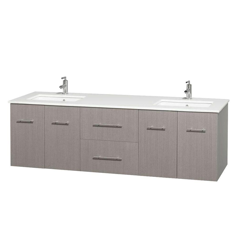 Centra 72-inch W Double Vanity in Grey Oak with Solid Top with Square Basins