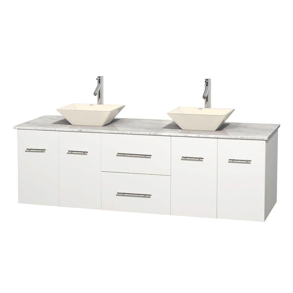 Centra 72-inch W Double Vanity in White with White Top with Bone Basins