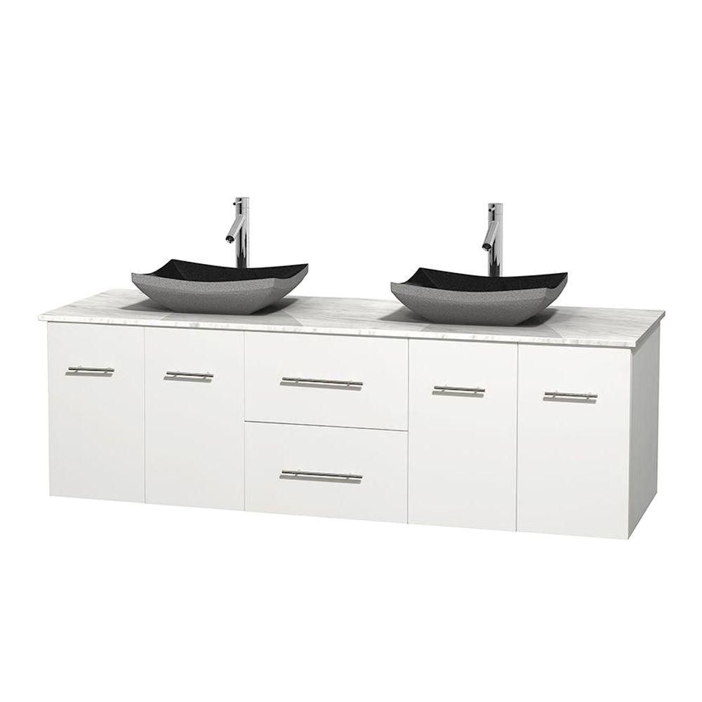 Centra 72-inch W Double Vanity in White with White Top with Black Basins