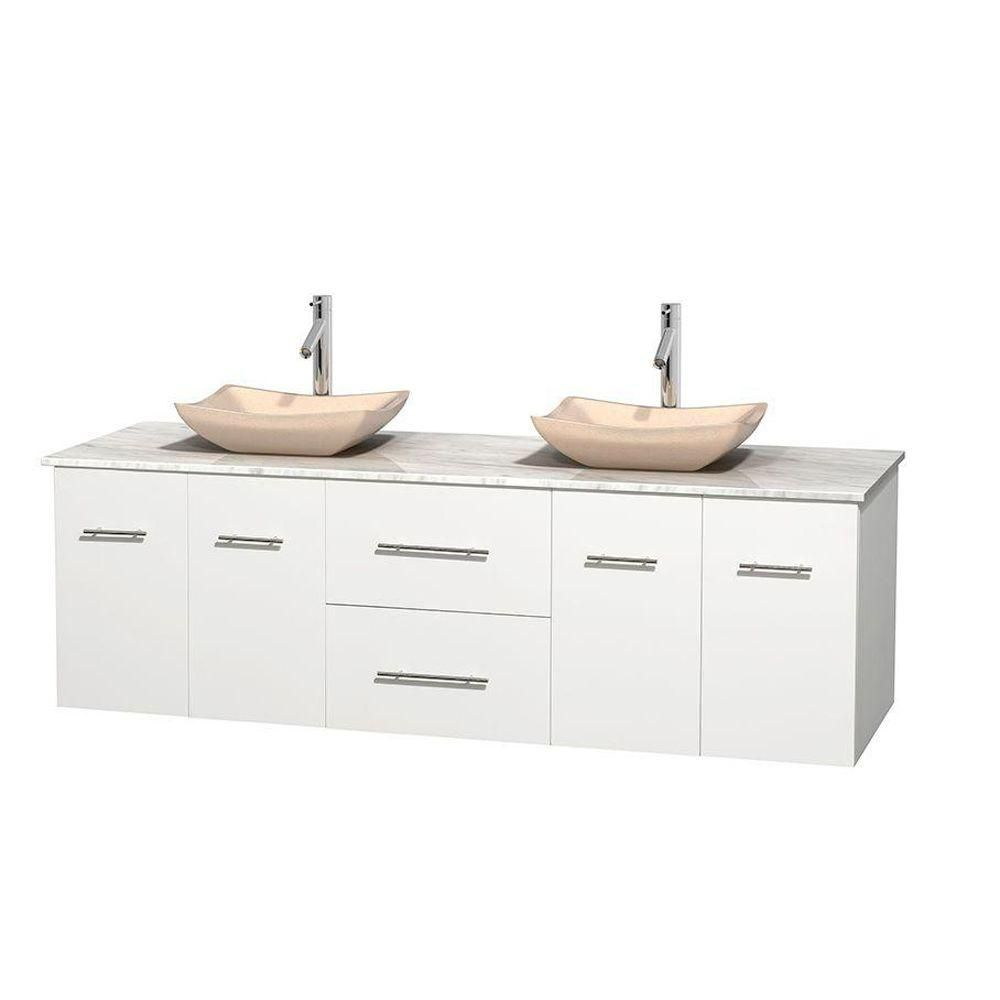 Centra 72-inch W Double Vanity in White with White Top with Ivory Basins