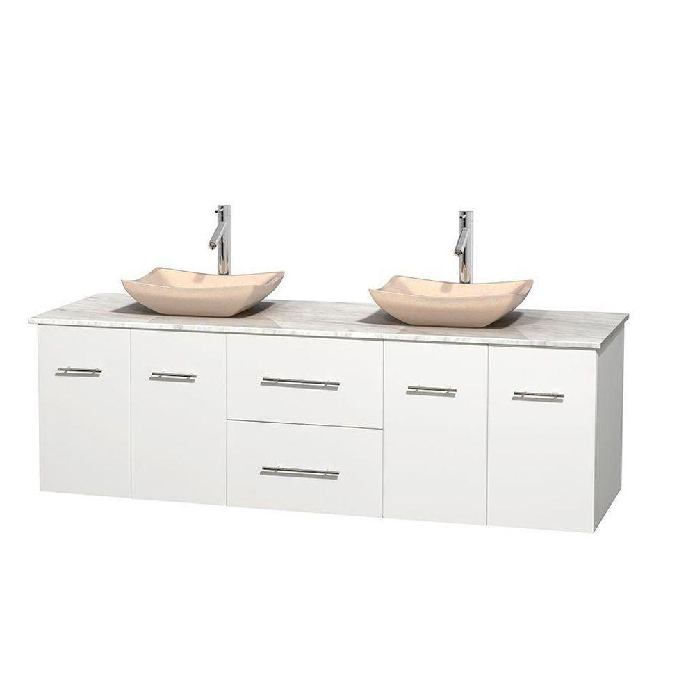 Meuble double Centra 72 po. blanc, comptoir blanc Carrare, lavabos ivoire, sans miroir